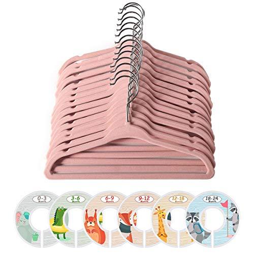 ManGotree - Perchas de terciopelo para abrigos, para niños, con 6 separadores de ropa para bebé, antideslizante, ahorro de espacio, 20 unidades (rosa)