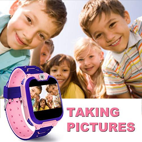 Polywell Kinder Smartwatch ,Touchscreen Mobile Smartwatches mit LBS SOS Voice Chat Kamera Taschenlampe Wecker Digitalkamera Kids Smart Watch für Mädchen, Kompatibel mit IOS und Android …