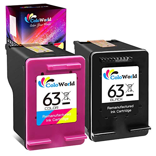 ColoWorld Remanufactured Ink Cartridges Replacement for HP 63 (1 Black, 1 Tri-Color) to use with HP Envy 4520 3634 OfficeJet 3830 5252 4650 5258 4655 4652 5255 DeskJet 3636 1111 3630 1112 Printer