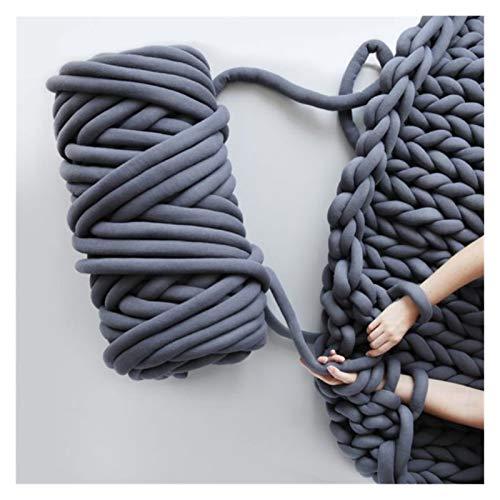 ZHHOOHAG Hilo Gigante 250g Chunky Knit Manta de Hilo de algodón Tubo Trenzado Super Chunky Barril Barra de Punto Hilado de Alteración Lana para Tejer Gruesa (Color : Dark Grey)