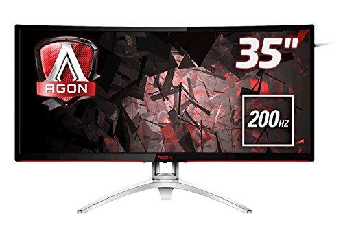 AOC Agon AG352QCX 88,9 cm (35 Zoll) Curved Monitor (DVI, HDMI, USB Hub, DisplayPort, 4ms Reaktionszeit, 200 Hz, 2560x1080, Free-Sync) schwarz/Silber