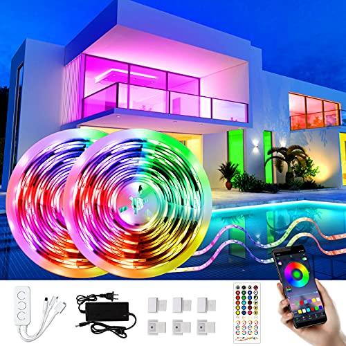Fortand Tiras LED 10M, Tira LED Exterior Impermeable, Bluetooth RGB Tiras de Luces con Control de APP y Remoto Control, Sincronización de Música, Tira de Luz LED para el Hogar, Exteriores Decoración