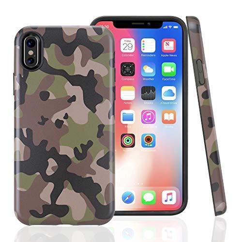 Cujas iPhone XS/X Hülle, Weiche Camouflage Silikon Schutzhülle Blickdicht mit IMD-Technologie Camo Militär Muster Case Schutz Handyhülle (iPhone XS/X Grün)