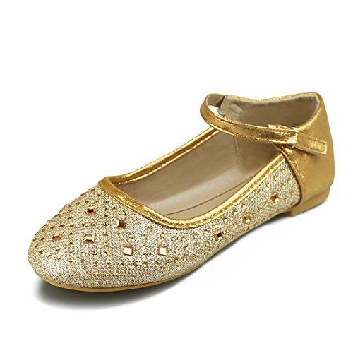 Price comparison product image Hawkwell Girls Mary Jane Ballerina Flat Shoes(Toddler / Little Kid / Big Kid), Lt Gold Glitter, 10 M US