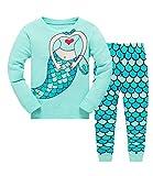 Qzrnly - Pigiama natalizio per bambine con stampa con animali, abbigliamento invernale a maniche lunghe, 2 pezzi, regalo di Natale per bambini Verde 9-10 Anni