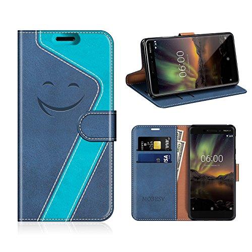 MOBESV Smiley Portefeuille Nokia 6 2018, Coque Cuir Nokia 6.1 Magnétique Étui Housse Cover avec Porte Cartes La Fonction Stand pour Nokia 6.1 / Nokia 6 2018, Bleu Fonce/Aqua