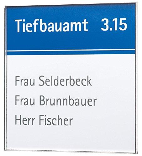 Rio Türschild 150   150x150mm   Edelstahl   Türschild Büro   Büroschild   inkl. entspiegelter Abdeckung