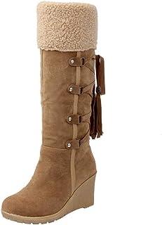Logobeing Botines Mujer Planos Tacon Zapatos de Mujer Después de Lijar con Borlas Botas Altas Mangas Cuñas Botas de Nieve Zapatos de Plataforma(37,Amarillo)