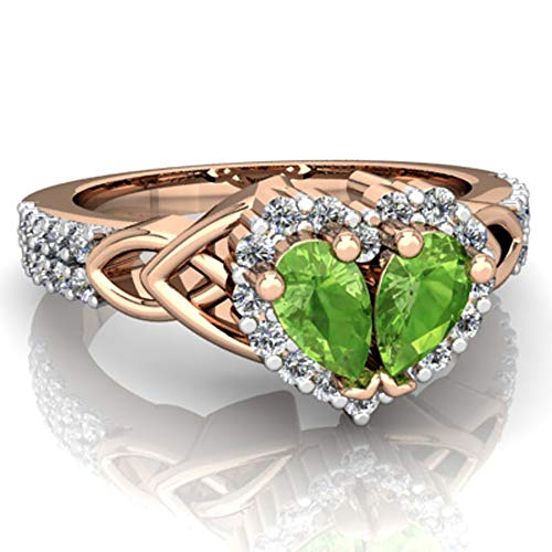 Dividiamonds 0.50 CT (5x3mm) Pear Cut Peridot 925 Sterling Silver 14K Gold Finish Celtic Knot Engagement Ring For Her