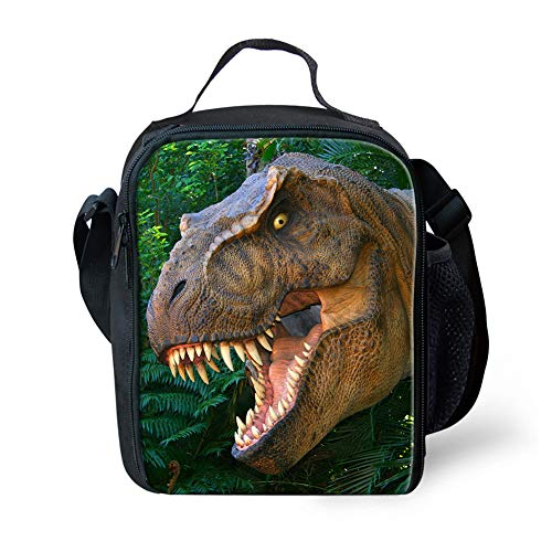 POLERO Dinosaur Insulated Lunch Bags for Women Teens Girls Tall Cute Lunch Bag for Meal Prep Large Freezable Lunch Cooler Bag Reusable Lunch Box(T-rex)