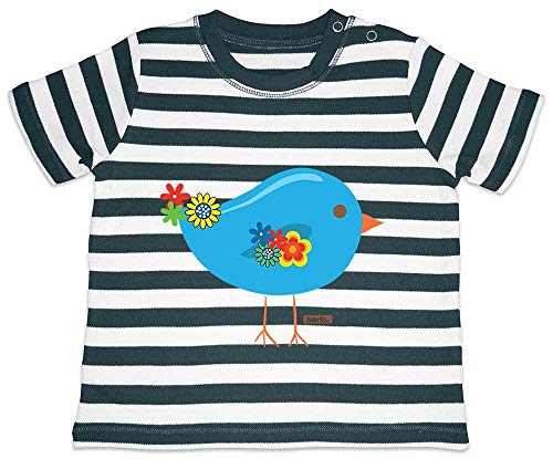 Hariz - Camiseta para bebé, diseño de rayas con pájaro, animales, guardería, tarjetas de regalo, color azul marino y blanco lavado, 12-18 meses