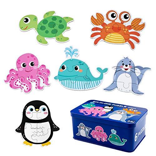 Comius Sharp Puzzle de Madera, 6 Pack Rompecabezas Puzzle Juguetes Bebes para Niños de 1 2 3 4 5 Años Montessori Educativos Regalos 3D Patrón Puzles con Caja de Rompecabezas de Metal (Ocean)