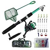 TZ Outdoors Fishing Rod & Reel Combo with Net for Adult & Kids, Portable Fishing Kit for Beginners and Kids, Retractable Fishing Rod and Pole Set, Fishing Learners Kit (7yrs & up)