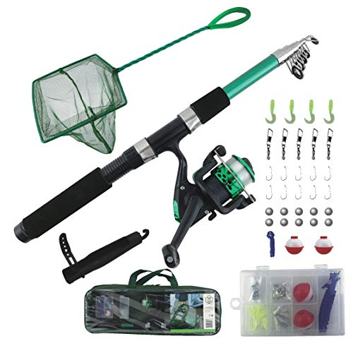 TZ Outdoors Fishing Rod & Reel Combo with Net and Tackle Box, Telescoping Fishing Pole and Reel Combo, Portable Fishing Set for Beginners and Kids (7yrs & up), Fishing Learners kit, Freshwater