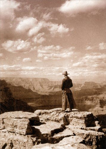 Cowboy Looking Into Canyon - Avanti America Collection Thank You Card