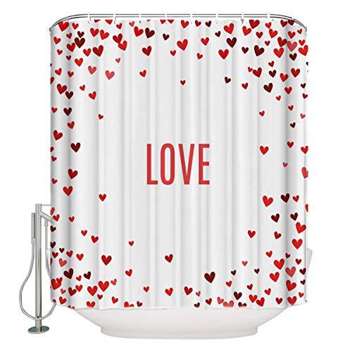UUOnly Liebe Duschvorhang, Romantik Thema Illustration Herzen des Valentines Abstract Amour...
