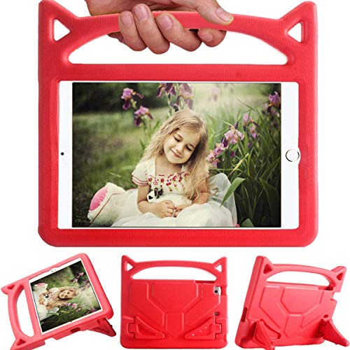 iPad Mini 1/Mini2/Mini3/Mini4/Mini5 Cartoon Mini Protective Cover, Snowwicase Children's Lightweight and Portable Shockproof Waterproof Tablet case with Handle and Bracket (red)
