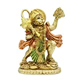 alikiki Hindu God Lord Flying-Hanuman Statue - India Idol Murti Pooja Sculpture - Indian Gold Finish Figurine for Home Temple Mandir Decor