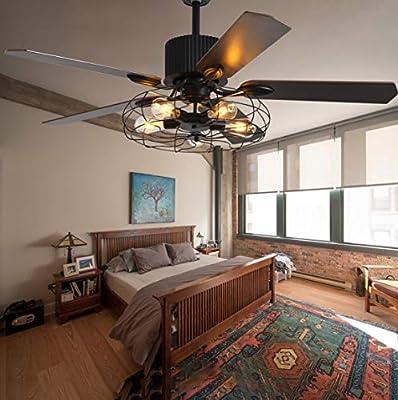 "52"" Cage Ceiling Fan with lights Fixture Ceiling Fan Light Fandeliers Black Iron Chandelier Fan with Remote for Bedroom/Living Room/Restaurant"