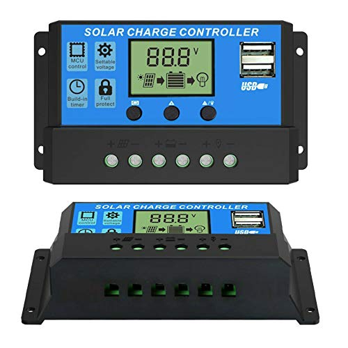 Phoenician Energy 30A Solar Charge Controller 12V/24V Auto, Solar Panel Charge Controller 30Amp Solar Regulator with Dual USB LCD, Backlight LCD Display and Timer Setting ON/Off (30A)