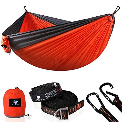 Anyoo Fallschirm Hängematte für Outdoor Garten tragbare Camping Schaukel Kapazität 300Kg Leichtgewicht mit Tasche für Hinterhof Strand Rucksack Wanderung