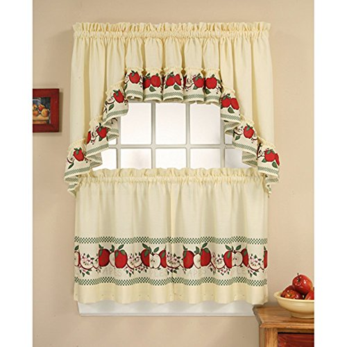 CHF & You Red Delicious Country Apples 3-Piece Window Curtain Tier Set, 56-Inch x 36-Inch, Multi Color