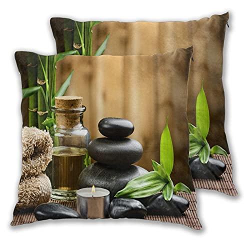 VINISATH Juego de 2 Fundas de cojín,Trillizos de piedras de masaje zen asiático con aceite de hierbas y velas aromáticas,Decorativa Cuadrado Suave Funda de Almohada Sofá Sillas Cama para Hogar,45x45cm