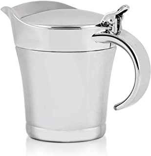 Ovente Stainless Steel Double Wall Insulated Gravy Boat Serving Jug with Lid for Gravy, Cream, Sauce, Salad Dressing, Easy...