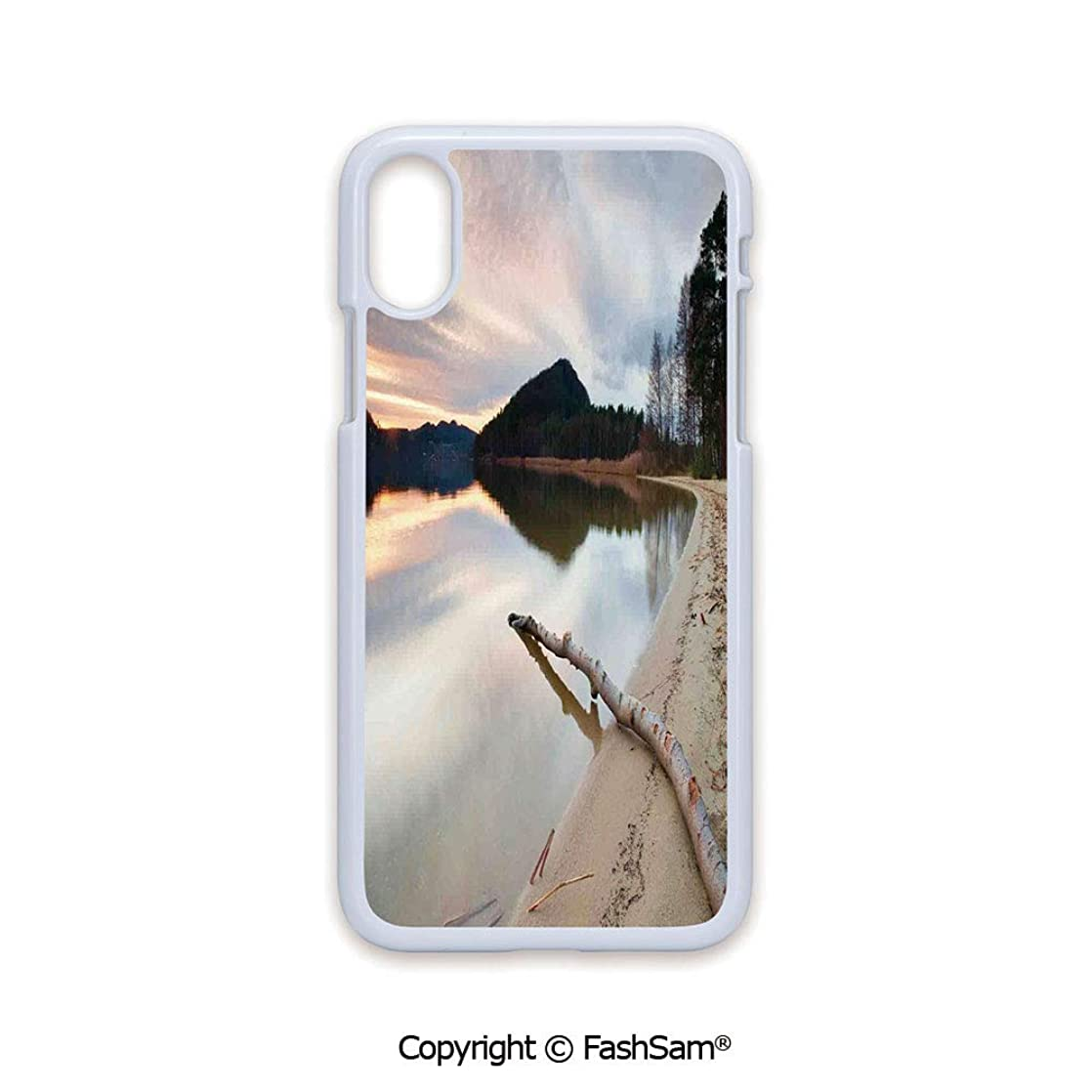 Plastic Rigid Mobile Phone case Compatible with iPhone X Black Edge Landscape of Lake Shore with Dead Tree Trunk in The Water Digital Print 2D Print Hard Plastic Phone Case wwvydnyg75894