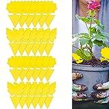 Jardin Planta Trampas, 24 Piezas Trampas Adhesivas Insectos, Placas Amarillas enchufables Planta Ideales para Plantas en macetas contra pulgones Mosquitos, Moscas de Hojas, balcón, jardín, Interior