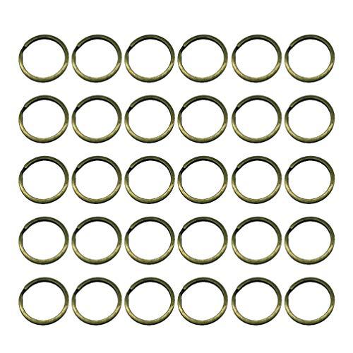 TOPBATHY 50 llaveros de hierro a granel, anillos de metal vintage, anillos divididos, redondos, planos, llaveros para coche, hogar, llaves, organización, diámetro de 35 mm, antilatón