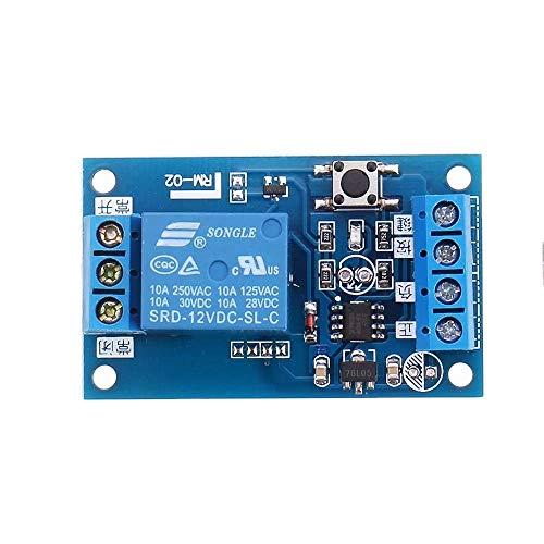 YELLAYBY Retardo de tensión Módulo de relé biestable de CC 12V 10A for el Coche Modificación Interruptor un Solo botón de Arranque-Parada de autobloqueo