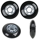 Player's Choice Inline Skate Wheels 68mm 82A Black Outdoor Roller Hockey Rollerblade 4 Pack