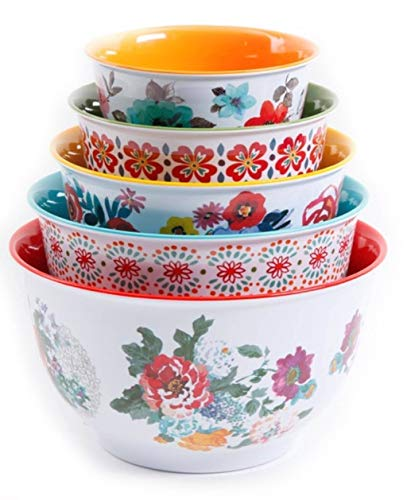 The Pioneer Woman 10-Piece Nesting Mixing Serving Bowl Set options Unique Vibrant Colors