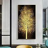 SXXRZA Póster de Arte 40x120cm sin Marco Moderno árbol Rico Dorado Paisaje Lienzo Pintura impresión Carteles e Impresiones artísticos Dorados para la decoración del hogar de la Sala de Estar