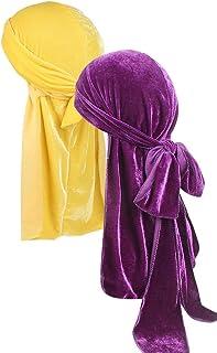Ababalaya Men's Women's Teens' Stretchable Luxury Velvet Long Tail Wide Straps Velvet Durags Du-Rags for Waves