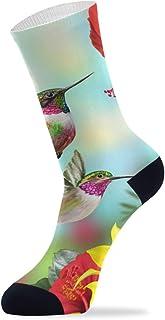 Calcetines para hombre y mujer, diseño de flores y colibrí