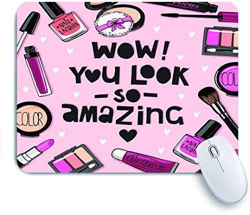 QINCO Gaming Mouse Pad Rutschfeste Gummibasis,Pflege Pink Lipstick Cosmetics Nagellack Set Aquarell Puderquaste Lidschatten,für Computer Laptop Office Desk,240 x 200mm