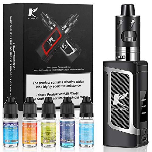 Kupbox E Zigarette Starter Set Ohne Nikotin mit 5x10ml E Liquid, 80W Dark Rider E Zigarette mit 0.5Ohm 2ml Verdampfer Tank, 2000mah Akku Kit - Silber
