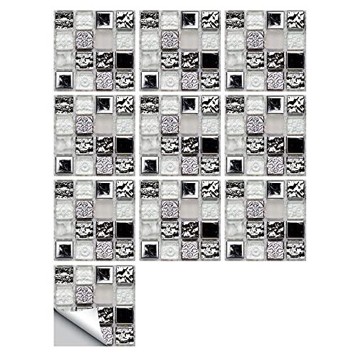 LUOQI 10 pcs Pegatinas de Azulejos Autoadhesivos, Decorativos Adhesivos para Azulejos Pegatina de Pared Mosaicos Pegatinas de Baldosas Decorativo para Azulejos de baño y Cocina