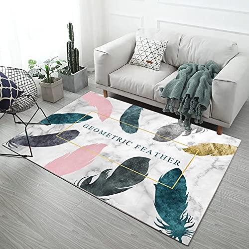 NF Alfombra rectangular moderna para salón, dormitorio, abstracción, antideslizante, antiincrustante, lavable, 120 x 160 cm