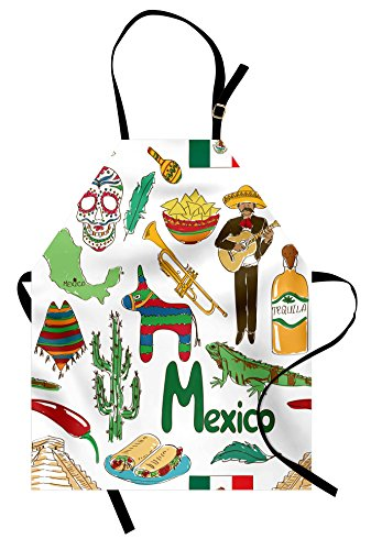 Lunarable Mexican Apron, Fun Colorful Sketch Mexico Chili Pyramid Nachos Cactus Music Poncho Pattern, Unisex Kitchen Bib with Adjustable Neck for Cooking Gardening, Adult Size, Olive Mustard