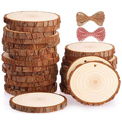 Fuyit Natural Wood Slices 25 Pcs 8-9cm Drilled Hole Unfinished Log Wooden Circles for DIY Crafts Wedding Decorations Christmas Ornaments with Free Gifts
