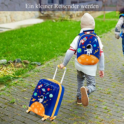 """COSTWAY COSTWAY 2tlg Kinderkoffer + Rucksack, Kindertrolley aus Kunststoff, Kindergepäck, Kinder Kofferset Handgepäck Reisegepäck Hartschalenkoffer für Jungen und Mädchen (Blau, 12""""+18'')"""