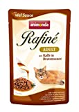 animonda Rafiné Adult Katzenfutter, Nassfutter für ausgewachsene Katzen, Frischebeutel, mit Kalb in Bratensauce, 12 x 100 g