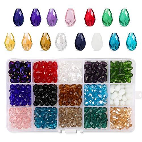 60pcs mix colour acrylic 12mm tear drop beads jewellery making craft UK