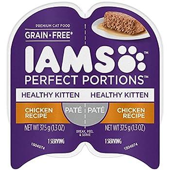 IAMS PERFECT PORTIONS Healthy Kitten Grain Free Wet Cat Food Paté Chicken Recipe  24  2.6 oz Easy Peel Twin-Pack Trays