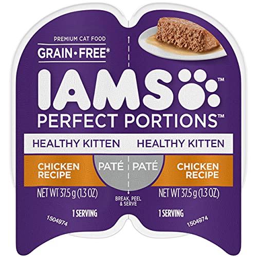 IAMS PERFECT PORTIONS Healthy Kitten Grain Free Wet Cat Food Paté, Chicken Recipe, (24) 2.6 oz. Easy Peel Twin-Pack Trays