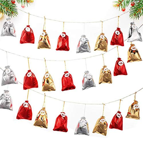 LPOQW Juego de 24 calendarios de Adviento para colgar, bolsas de regalo, bolsas de caramelos, adornos de Navidad, decoración para el hogar, decoración de fiestas, accesorios de regalo