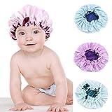 Haokaini Kinderhaarhaube Satin Schlafhaube Reine Farbe Nachtschlafkappen Weiche Atmungsaktive Haarwickel Breitband Doppelschicht für Kleinkinder Babys